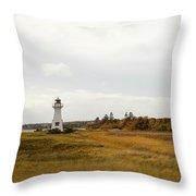 Coastline Of Prince Edward Island, Canada With Lighhouse Throw Pillow