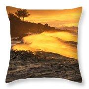 Coastline Sunset Throw Pillow