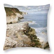 Coastline Viewed From Thornwick Bay Flamborough Throw Pillow