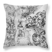 Coat Of Arms With Open Man Behind Throw Pillow