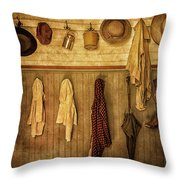 Coat Room At The Old Schoolhouse Throw Pillow