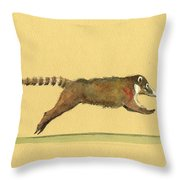 Coati Coatimundi Animal Drawing Throw Pillow