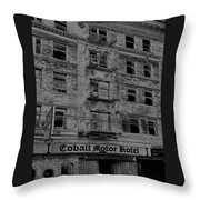 Cobalt Motor Hotel Throw Pillow