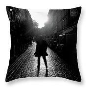 Cobblestone Path Home Paris Bw Throw Pillow