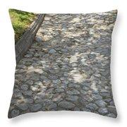 Cobblestone Path In A Park Throw Pillow