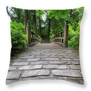 Cobblestone Path To Wood Bridge Throw Pillow