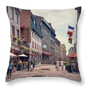 Cobblestone Streets In Old Montreal  Throw Pillow