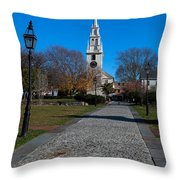 Cobblestone To Trinity Church Newport Rhode Island Throw Pillow