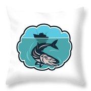 Cobia Fish Fishing Boat Bubble Retro Throw Pillow