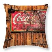 Coca Cola Barn Throw Pillow