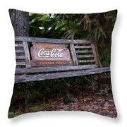 Coca Cola Bench Throw Pillow