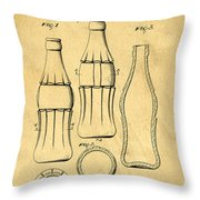 Coca Cola Bottle Patent Art 1937 Blueprint Drawing Throw Pillow