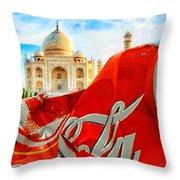 Coca-cola Can Trash Oh Yeah - And The Taj Mahal Throw Pillow