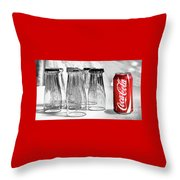 Coca-cola Glasses And Can - Selective Color By Kaye Menner Throw Pillow