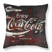 Coca Cola Grunge Sign Throw Pillow
