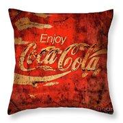 Coca Cola Square Aged Texture Black Border Throw Pillow
