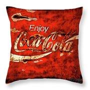 Coca Cola Square Soft Grunge Throw Pillow