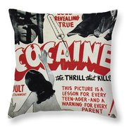Cocaine Movie Poster, 1940s Throw Pillow