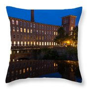 Cocheco Mills At Blue Hour Dover New Hampshire Throw Pillow