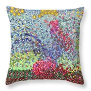 Cock On A Red Ball In Motion Throw Pillow