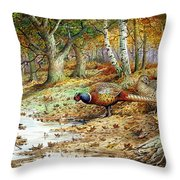 Cock Pheasant And Sulphur Tuft Fungi Throw Pillow by Carl Donner