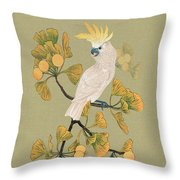 Cockatoo And Ginkgo Tree Throw Pillow