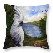 Cockatoo And Orchid Throw Pillow