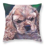 Cocker Spaniel Puppy Throw Pillow by Lee Ann Shepard