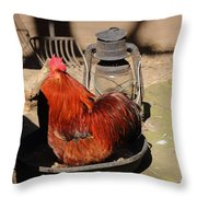 Cockerel And Storm Lamp Throw Pillow