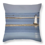Cockspur Island Lighthouse With Jetty Throw Pillow