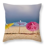 Cocktails In The Sand Throw Pillow