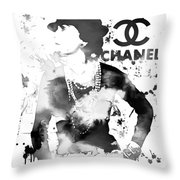 Coco Chanel Grunge Throw Pillow