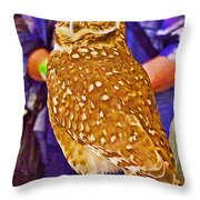 Coco The Burrowing Owl In Living Desert Zoo And Gardens In Palm Desert-california Throw Pillow