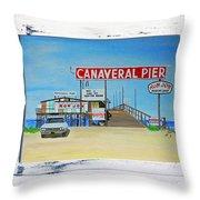 Cocoa Beach/cape Canaveral Pier Throw Pillow