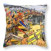 Cocoa Beach Pier/surf Festavil Throw Pillow