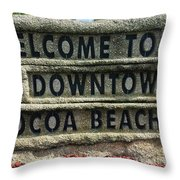 Cocoa Beach Welcome Sign Throw Pillow