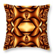 Cocoa Fractal Roses Throw Pillow