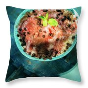 Coconut Milk Sorbet With Strawberry Sauce Vanilla Ice Cream Throw Pillow