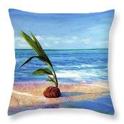 Coconut On Beach Throw Pillow