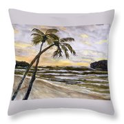 Coconut Palms On Cloudy Day Throw Pillow