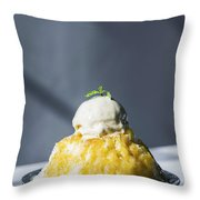 Coconut Sorbet With Mango Sauce And Vanilla Ice Cream Throw Pillow