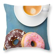 Coffee And Baked Donuts Throw Pillow