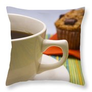 Coffee And Chocolate Muffin Throw Pillow