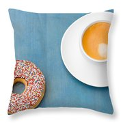 Coffee And Donut Throw Pillow