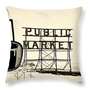 Coffee At The Market II Throw Pillow