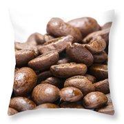 Coffee Beans Closeup Throw Pillow