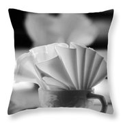 Coffee Cup Black And White Throw Pillow
