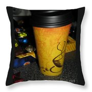 Coffee Cup Series. Yellow And Orange. Throw Pillow