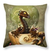 Coffee Dragon Throw Pillow
