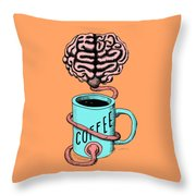Coffee For The Brain Funny Illustration Throw Pillow
